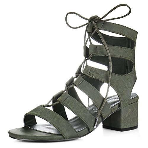 Allegra K Women Cutout Chunky Heel Lace-Up Sandals (Size US 6) Khaki Green