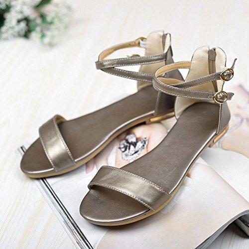 COOLCEPT Damen Mode-Event Knochelriemchen Sandalen Open Toe Flach Schuhe Mit Zipper Champagner