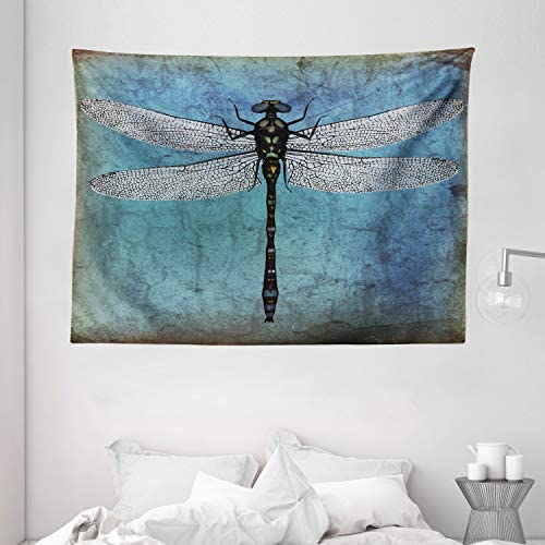 Ambesonne Dragonfly Tapestry, Grunge Vintage Old Backdrop and Dragonfly Bug Ombre Image, Wide Wall Hanging for Bedroom Living Room Dorm, 80 X 60 , Blue Turquoise