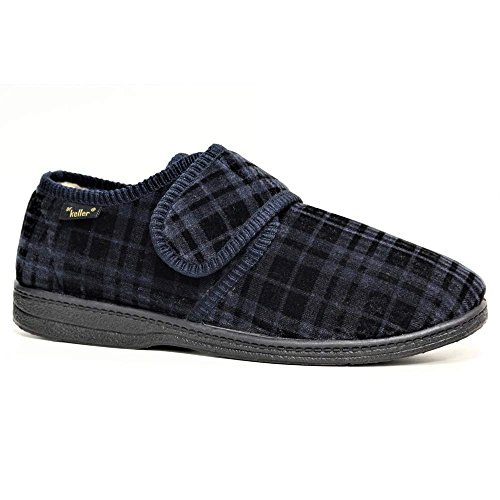 Dr Keller New Mens Luxury Fur Lined Slippers Velour Adjustable Velcro Wide Fit Comfort Indoor Shoes Sizes 6-11 Navy