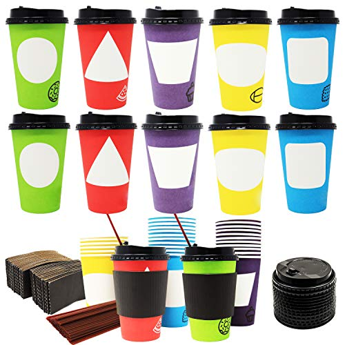 70 Coffee Cups with Lids,12 oz Disposable Paper Coffee Cups with Lids and Stirrers, To Go Coffee Cups, Party Favor