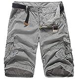 Donci Pants Men's 9'' Inseam Flat-Front Stretch Short Dark Gray