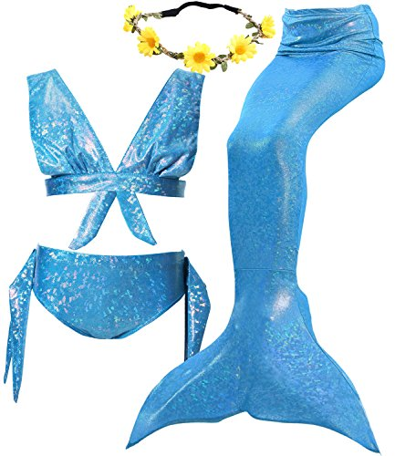 4Pcs Halloween Girl's Mermaid Tails Swimsuit Bikini Set Princess Swimming Bathing Suits Swimwear (3T / 4T, F Macaron Blue) -