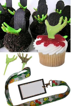 12 Zombies Favor Lanyards & 12 Zombie Hand Cupcake Pick Decorations
