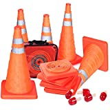 Reliancer 5PCS 18'' Collapsible Traffic Cones with Nighttime LED Lights Pop up Safety Road Parking Cones Weighted Hazard Cones Construction Cones Fluorescent Orange w/2 Reflective Silver Strips Collar