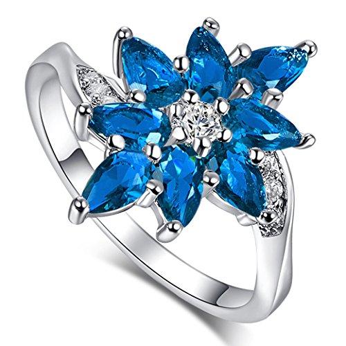 (Narica Womens Brilliant 3mmx5mm Pear Cut Leaf Shaped Sapphire Quartz CZ Engagement Ring)