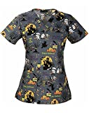 Cherokee Women's V-Neck Halloween Print Scrub Top XXX-Large Print