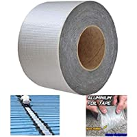 Super Waterproof Tape Butyl Rubber Aluminium Foil Tape,Waterproof Duct Tape Super Repair Crack Thicken Butyl Waterproof Tape Home Renovation Tools (10cm*10M)