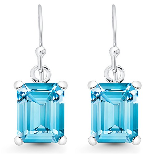 (Sterling Silver Emerald-Cut Genuine Blue Topaz Dangle Earrings (6.0 cttw.))