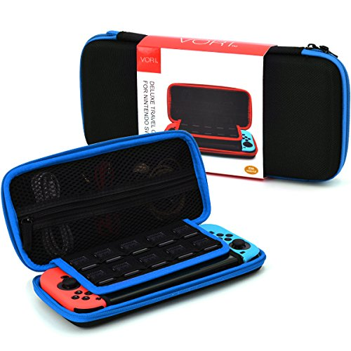 Vori Nintendo Switch Carrying Case   Protective Hard Shell Pouch Portable Travel Anti Shock Storage Bag With 10 Built In Game Card Holders For Nintendo Switch Game Accessories Accessories  Black Blue
