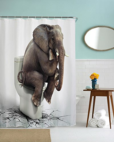 Funny Elephant Shower Curtain, Huge Elephant on Toilet cross Hands Thinking with Small Curling Tail Crashed Bathroom Floor Long Waterproof Machine Washable Bath Curtain (Tree Chocolate Coral)