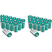 [2 Pack] CR123A Lithium Batteries RAVPower 3V Lithium Battery Non-Rechargeable, 16-Pack, 1500mAh Each, 10 Years of Shelf Life for Arlo Cameras, Polaroid, Flashlight, Microphones and More