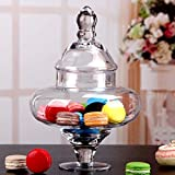 BeesClover 1L Retro Design Glass Storage Jar Decorative Candy Jar Household Organizer Canister Glassware Ornament Art and Craft Accessories Clear