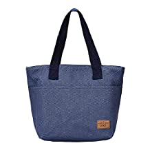 Insulated Lunch Bag,COOKI Adult Portable Flower Lunch Box Lunch Tote Bag Box Cooler Bag For Work, Picnic Cold Drink Insulation Men, Women lunch Boxes,31cm×11cm×23cm (Blue)