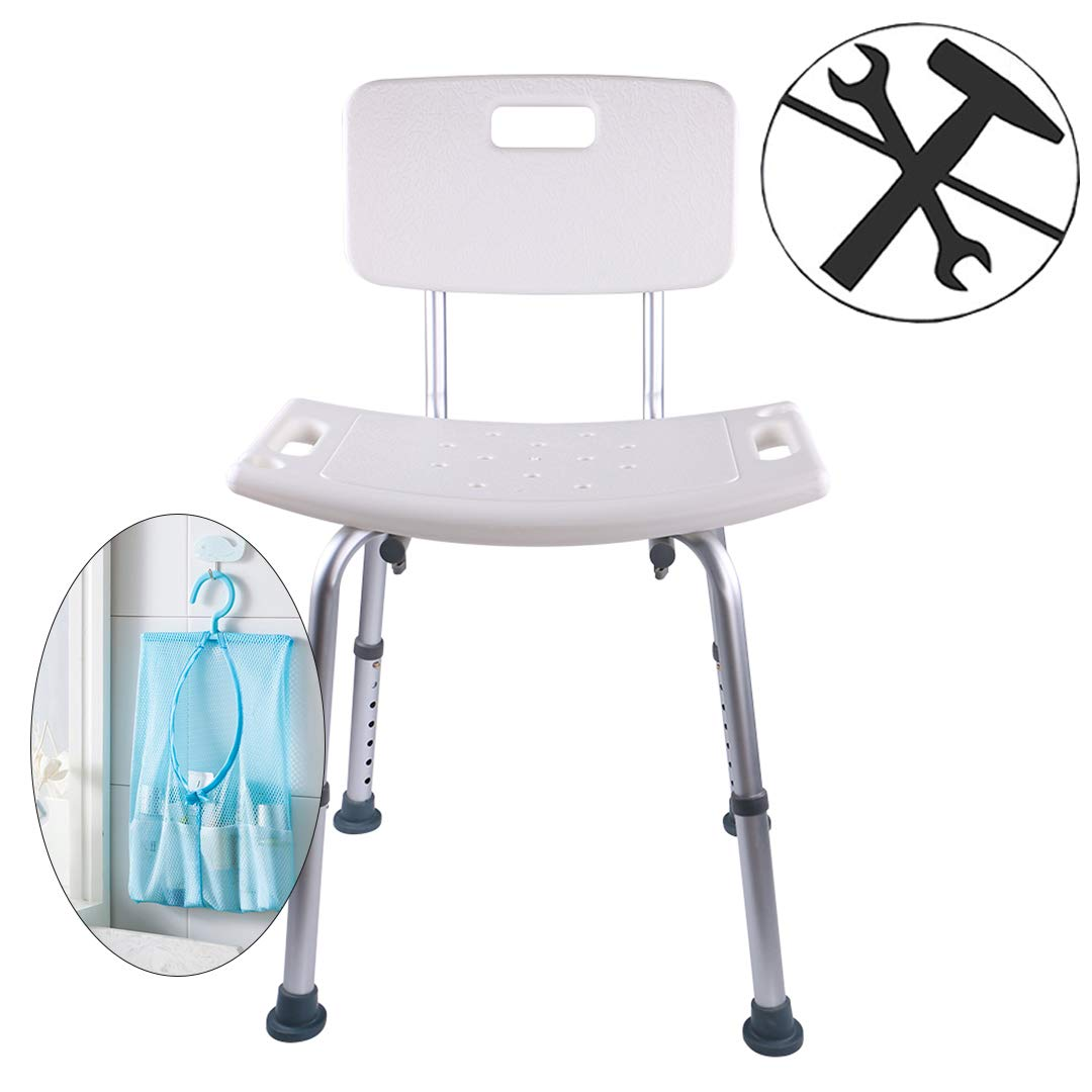 Ampai Shower Chair with Removable Back, Shower Chair Bath Stool with Tote Bag and Shower Head Holder, Shower Seats for Elderly, Disabled, 7 Height Adjustable Setting, Tool-Free Assembly