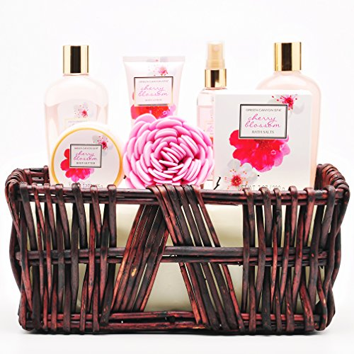 Lush Green Canyon Spa Gift Baskets in Japanese Cherry Blossom, 8 Pieces Luxurious Spa Sets in Ha ...