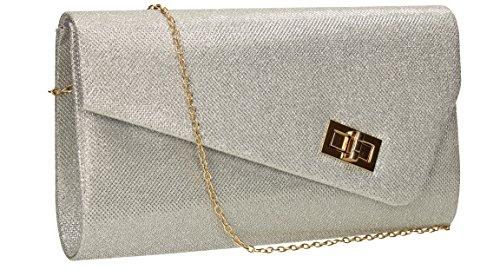 SwankySwans - Lima Sparkle Glitter Envelope Bag, Sacchetto Donna Argento (Argento (Silver))