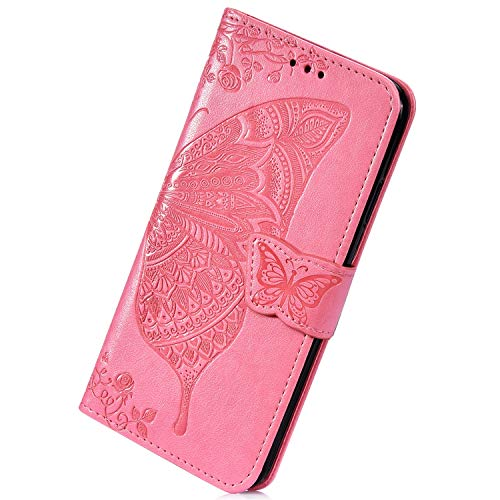Herbests Compatible with Huawei Y7 2019 Wallet Case Leather Flip Cover 3D Pressed Butterfly Flower Pattern Protective Phone Case Shockproof Cover Card Slots Stand Magnetic,Pink