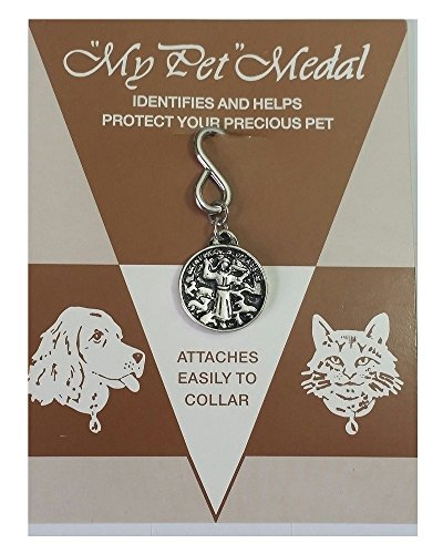 St Francis of Assisi Pet Charm Dog Cat Tag ID Religious Medal Silver ()