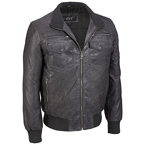 Black Rivet Mens Big & Tall Stand Collar Faux-Leather Bomber Jacket 3XLT Charcoa