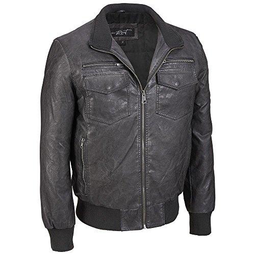 Big Bomber (Black Rivet Mens Big & Tall Stand Collar Faux-Leather Bomber Jacket 2X Charcoal)