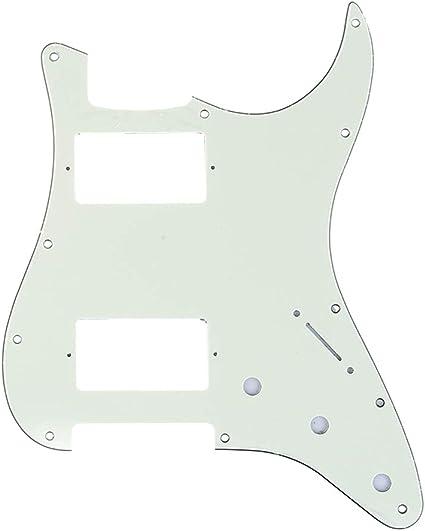 Black Strat Style Pickguard 11-Screw HH 2-Knob 1-Ply