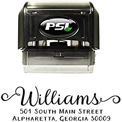 Lovely Custom Personalized Self Inking Return Address Stamp - Great Wedding, Housewarming, Teacher, or Client Gift