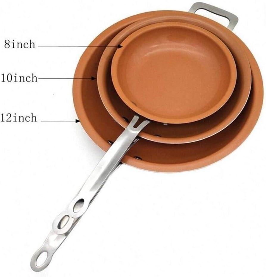 Poêle à crêpes 8/10/12 pouces antiadhésif cuivre Frying Pan Skillet Barbecue au gaz (Color : 10inch) 12inch