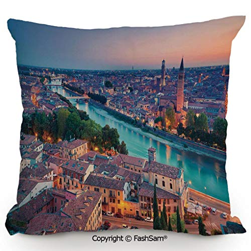 FashSam Throw Pillow Covers Verona Italy During Summer Sunset Blue Hour Adige River Medieval Historcal for Couch Sofa Home Decor(24