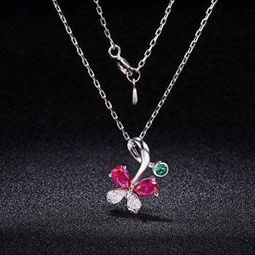 925 Pur Argent Collier, Micro Pave Zircon Papillon avec Pendentif 5A Zircon Rose Rouge et Vert, Platine, 450mm