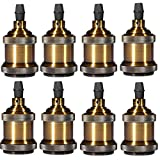 INNOCCY Solid Lamp Socket E26/ E27 Vintage Industrial Edison Pendant Ceramics Light Socket Antique Brass Color, Pack Of 8