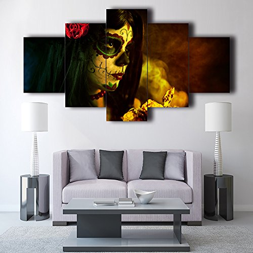 Day of the Dead Sugar Skull Girl's Face Canvas Wall Art Painting 5 Panel Modern Dia De Los Muertos Posters and Prints Pictures for Living Room,Home Decor Framed Stretched Ready to Hang(60''Wx32''H) ()