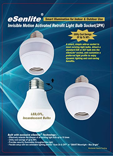 Esenlite radar motion sensor activated retrofit light sockets esenlite radar motion sensor activated retrofit light sockets compatible led cfl incandescent bulb outdoor light fixture aloadofball Image collections