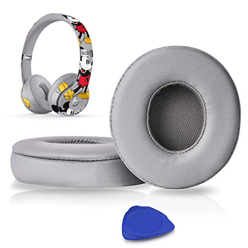 Professional Ear Pads Cushions Replacement, Earpads Compatible with Beats Solo2 & Solo3 Wireless On-Ear Headphones with Soft Protein Leather/Strong Adhesive Tape