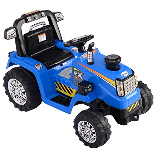 Costzon12v Battery Powered Kids Ride On Tractor Electric Toys W  Mp3 Led Lights Blue By Costzon