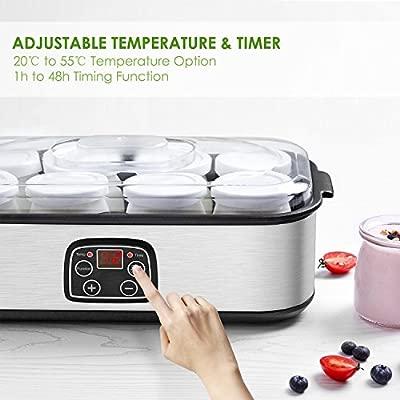 Yogurtera Aicok Yoghurt Hecho en Casa 8 Jarros de Vidrio 1440ml Pantalla LED con Ajuste de Temperatura y Temporizador Auto Apagado, Acero Inoxidable, ...