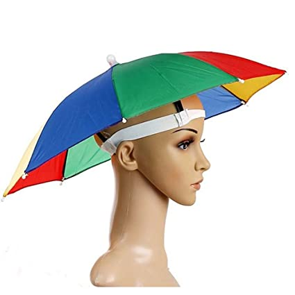 8f16a9a56f346 Tkmell 26 quot  Diameter Elastic Band Fishing Headwear Umbrella Hat Rainbow Umbrella  Hat Foldable Waterproof Hands