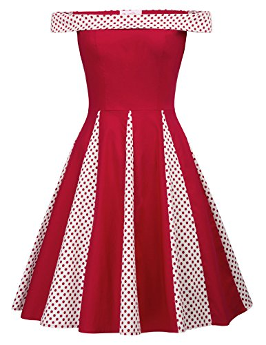 Belle Poque Red Polka Dot Colorblock Cocktail Party Dress S BP477
