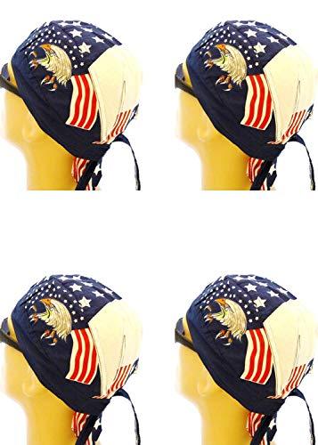 Skull Eagle - Buy Caps and Hats Doo Rag Set of 4 American Flag Bald Eagle Skull Cap Head Wrap Pack Red White Blue