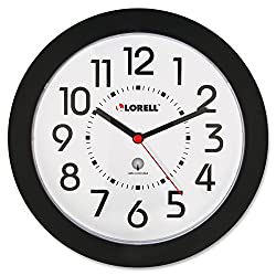Lorell 60990 Wall Clock, 9 in., Arabic Numerals, White Dial/Black Frame