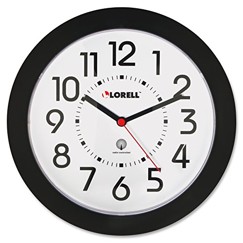 Lorell 60990 Wall Clock, 9 in., Arabic Numerals, White Dial/Black Frame
