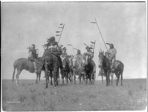 Photo: Atsina warriors, Indians on horseback, November 19, c1908, Edward S Curtis, Montana . Size: 8