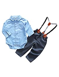 Newborn Boys Classic Formal Wear 2pcs Solid Rompers Long Sleeve Jumpsuit Romper Outfit Blue for 9-12 Months