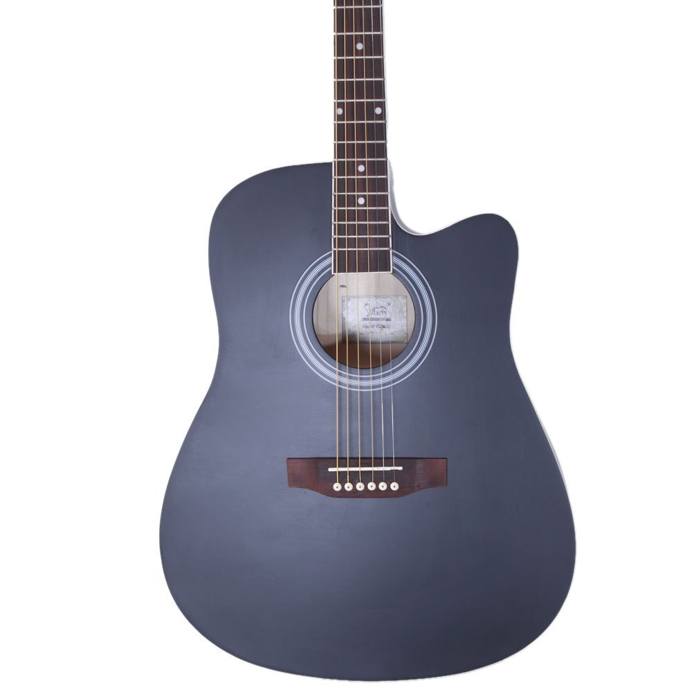 Glarry 41 Spruce Front Rosewood Fingerboard Folk Guitar for Music lovers with Guitar Bag and Accessories include Board and Wrench Black