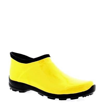 b545a096c28c01 Femmes Caoutchouc Brillant Chaussures De Jardin Pluie Neige De Bottes -  YEL43 - ABL0175