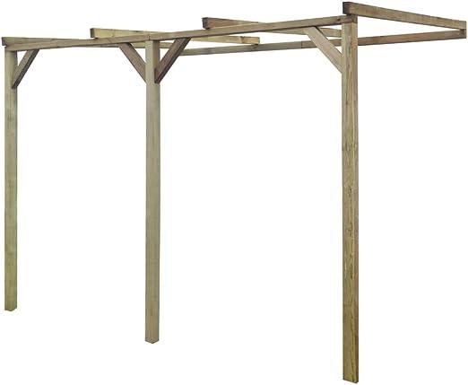 vidaXL Pérgola de Pared para Jardín de Madera de Pino 2x3x2, 2 m Cenador Pared: Amazon.es: Hogar