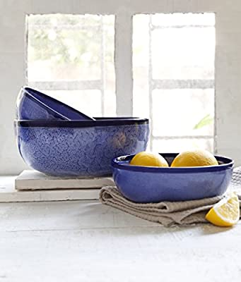 Ceramic Serving Bowl Set of 3 Round Shaped Blue Color Handcrafted Kitchen Dining Accessory Serveware