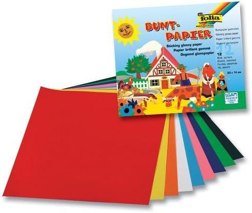 folia Glanzpapier-Bastelheft, 12 Blatt, farbig sortiert