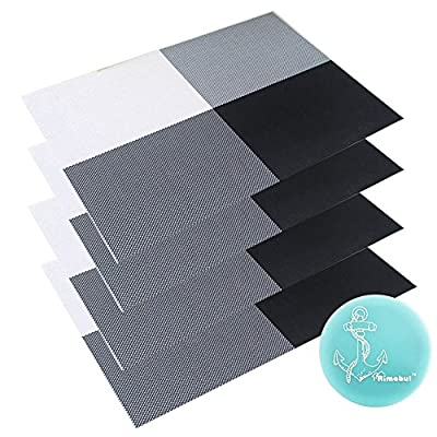 """RIMOBUL PVC Placemat for Dining Room, Set of 4 (Black) - Comes with a Rimobul Coaster Dimension: 17 3/4"""" L x 12"""" W Easy to clean, wipe to clean, washable - placemats, kitchen-dining-room-table-linens, kitchen-dining-room - 511x89x56tL. SS400  -"""
