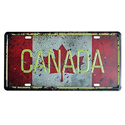 PLUMTALL Canada Car Auto Tag Metal License Plate Vintage Home Decor ...
